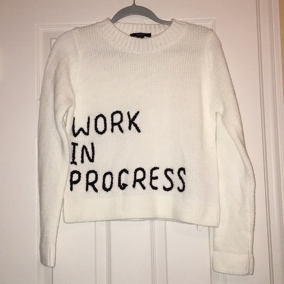 aac1f5011a Forever 21 Sweaters - Forever 21 Embroidered Work In Progress Sweater